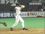 ヒットを打つ田中幸雄